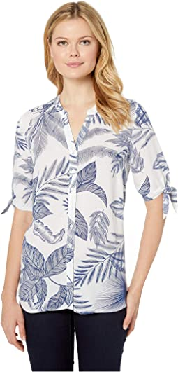 Printed Blousing Tropical Leaf Print Tie Sleeve Blouse