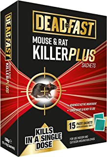 Deadfast Mouse and Rat Killer Plus Poison, 15 Sachets - Green