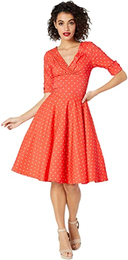 fec064d28f Coral White Dot. 17. Unique Vintage. Pantone x Unique Vintage 1950s Delores  Swing Dress with Sleeves