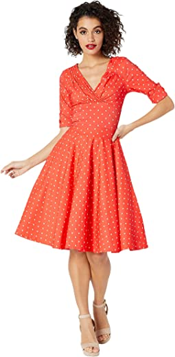 Pantone x Unique Vintage 1950s Delores Swing Dress with Sleeves