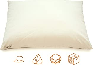 """product image for ComfyComfy Premium Buckwheat Pillow, Standard Size (20"""" x 26""""), Comes with Extra 2 lb of USA Grown Buckwheat Hulls to Customize for Comfort, Made from Durable Organic Cotton Twill"""