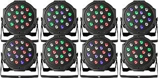 BestEquip Par LED Stage Light 8 PCS Par Lights 18X3W Stage Lighting for Club DJ Show Disco Party Strobe DMX-512