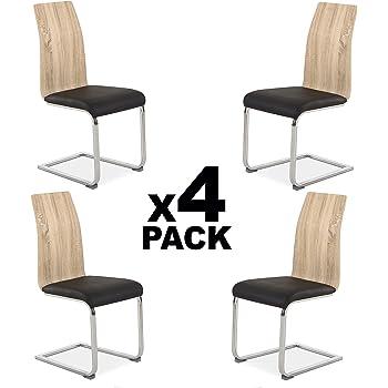 HomeSouth – Pack 4 sillas de Comedor, Silla de salón o Cocina ...