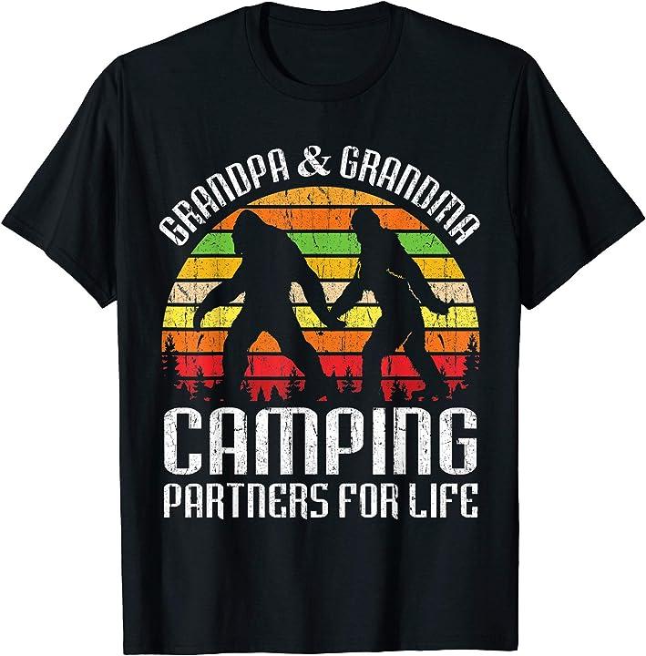 Bigfoots Grandpa & Grandma Camping Partners For Life Shirt