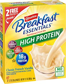 Carnation Breakfast Essentials High Protein Powder Drink Mix, Classic French Vanilla, 1.27 Oz Pouches (10 Count), (Pack of 6)