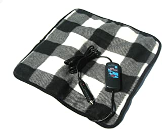 Car Cozy 2 Mini Heated Travel Blanket with Patented Safety Timer 16 inch x 16 inch (Black and White Plaid)
