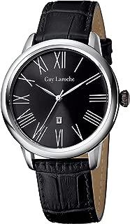 Guy Laroche G1010_ 01_ black-42mm–Wristwatch Men's, Leather Strap Black