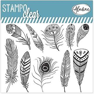 Aladine - Stampo Clear Plumes - Tampons Transparents Créatifs - DIY et Scrapbooking - Placement Précis des Motifs - Planch...