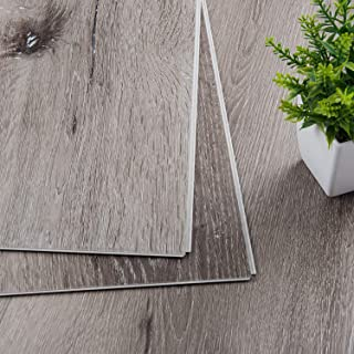CHARME Stone Core Engineered Luxury Vinyl Plank Flooring Quick Unilin Lock Syterm Composite Interlocking Plank Flooring, SPC Floor 48x7 inch, Pack of 10 (Grace Oaken Grain)