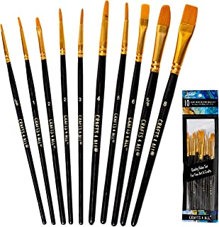 Crafts 4 All Paint Brushes Set 10 Pieces Professional Fine Tip Paint Brush Set Round..