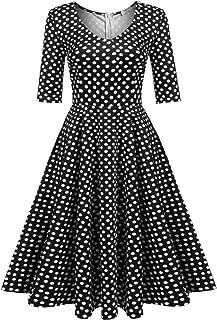 Women's Half Sleeve Swing Dress Floral Print Knee Long A Line Tea Dress
