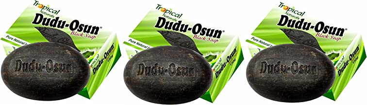 Dudu Osun Pure Organic African Black Soap 150g(Pack of 3) - Effective for Acne Treatment, Eczema, Dry Skin, Scar Removal, Dandruff, Pimples Mark Removal, Anti-fungal Face & Body Wash