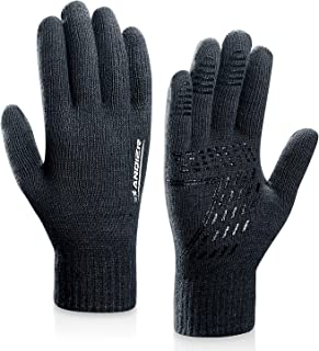 anqier Winter Knit Gloves,Warm Full Finger Touchscreen Gloves for Men Women Thick Texting with Warm Wool Lining