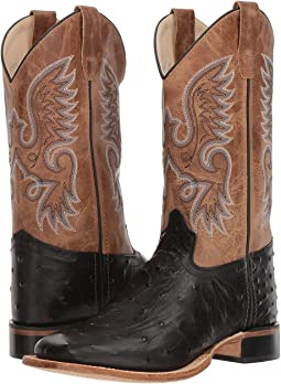 Old West Kids Boots Ostrich Print Square Toe (Big Kid)