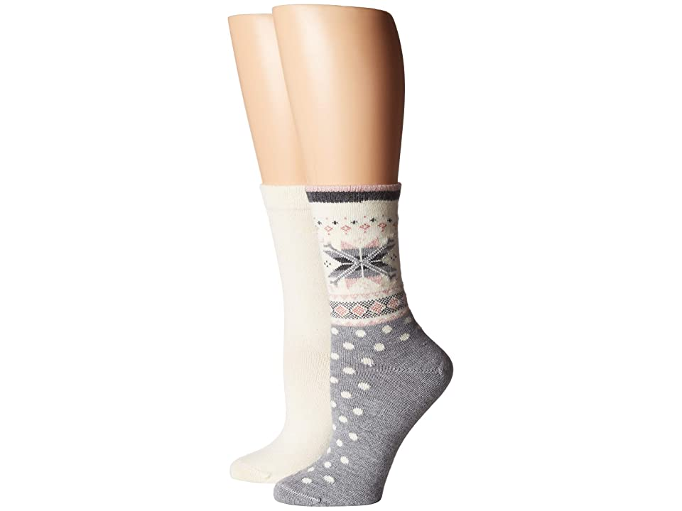 HUE Fair Isle Boot Socks 2-Pair Pack (Light Charcoal Heather) Women's Crew Cut Socks Shoes, Gray