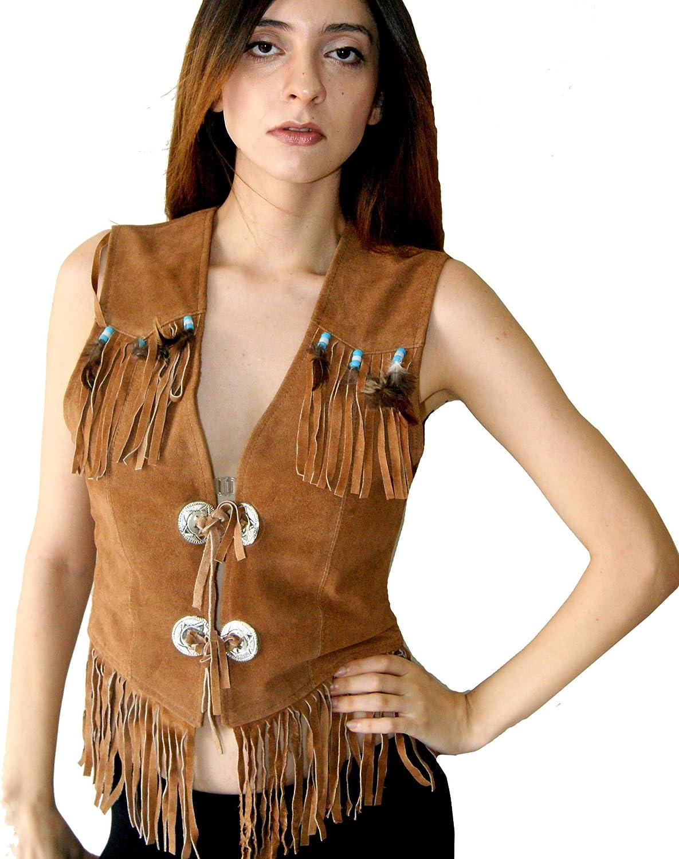 Classyak Women Suede Leather Western Vest