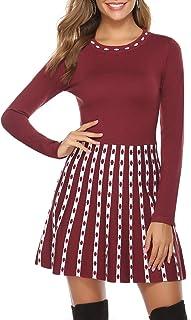 Hawiton Vestido de Punto para Mujer Vestido de Suéter de Cuello Alto Elegante Jersey de Manga Larga de Una Línea para Otoñ...