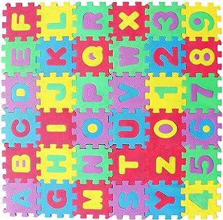 BESPORTBLE 36St Barn Skum Pussel Lekmatta Sammankopplade Eva Golvplattor Med Alfabet Och Siffror (Slumpmässig Färg)
