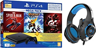 PS4 1TB Slim Bundled with Spider-Man, GTaSport, Ratchet & Clank And PSN 3Month&Cosmic Byte GS410 Headphones with Mic and f...
