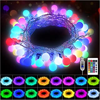 KNONEW 100 LED Globe String Lights 33ft 16 Colors Changing Lights with Remote, USB Powered Fairy Light Indoor Outdoor Deco...