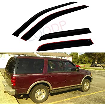 Amazon Com Deal 4 Piece Set Vent Smoke Window Visor Side Window Sun Rain Guard With Outside Mount Tape On Type Custom Fit For 1997 2017 Ford Expedition 1998 2017 Lincoln Navigator Automotive