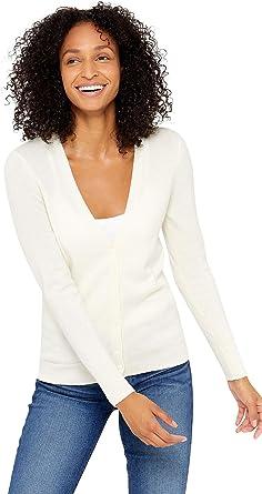 State Cashmere Donna 100% Puro Cashmere Cardigan con Bottoni A Manica Lunga con Collo a V