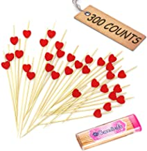 "Comicfs Cocktail Picks Handmade Bamboo Toothpicks 4.7"" Party Supplies 300 Counts BONUS Comicfs Portable Toothpick Box Pocket Set, Red Heart - 07A"