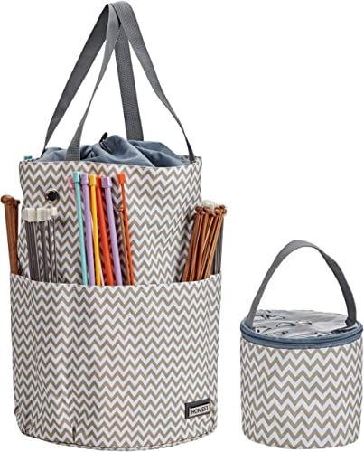 HOMEST Knitting Bag, Portable Yarn Storage Tote for Knitting Needles(up to 13 inches), Crochet Hooks and Other Access...
