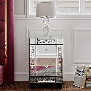 Table de Chevet Miroir Meuble de Rangement en Verre + Cristal avec 2 Tiroirs surSalon, Chambre, Bureau Salle de Bains et...