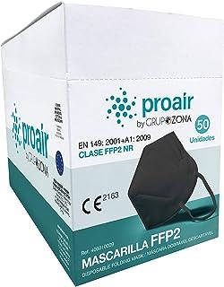 Mascarillas FFP2 homologadas CE 2163, color negro, filtrado de 5 capas - ProAir - Mascarilla protección respiratoria