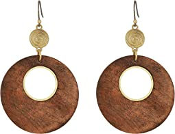 Wood Circle Drop Earrings