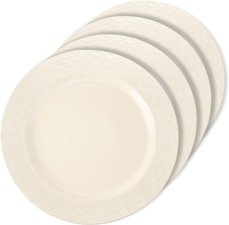 Signature Housewares 4891 Sahara Dinner Plates (Set of 4), Ivory