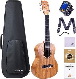 Concert Ukulele, Ohuhu 23 Inch Ukelele for Uke Beginners, with Tuner, Ukulele Backpack Style Gig Bag, Ukulele Strap (Strap Pins and Aquila Strings Installed)