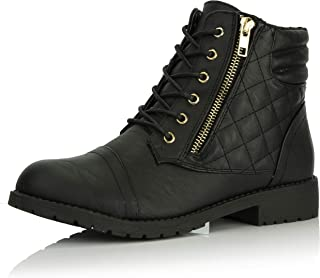 DailyShoes Women's Military Lace Up Buckle Combat Boots Ankle High Exclusive Credit Card Pocket