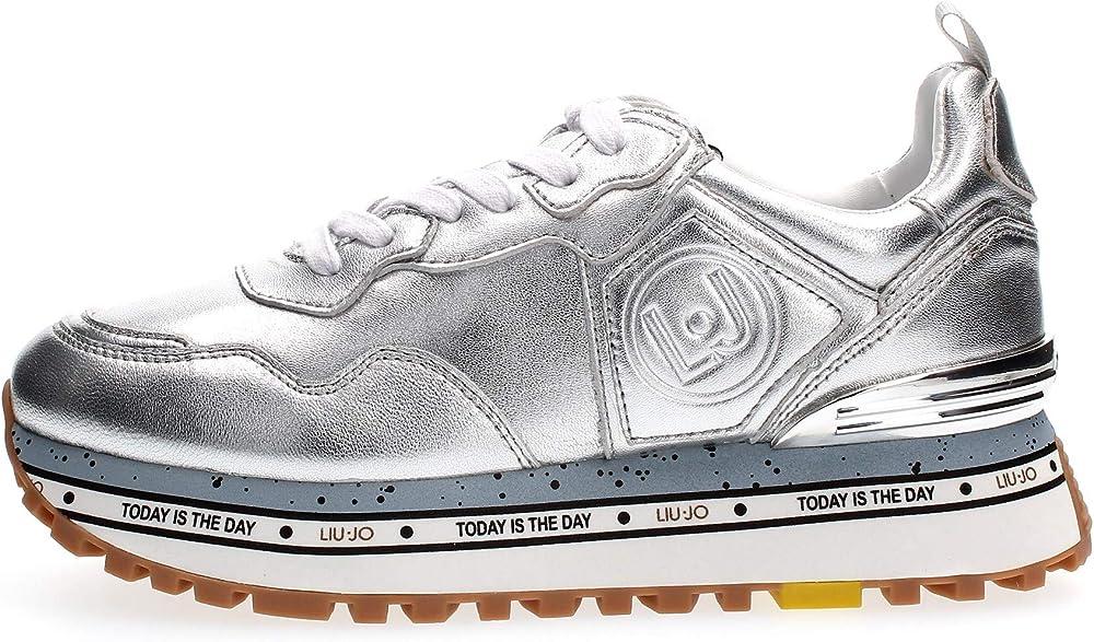 Liu jo maxi alexa silver scarpe  sneaker casual da donna in pelle sintetica BXX051P0231