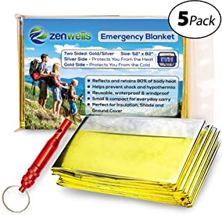Zenwells Emergency Blanket Bulk (5 Pack or 10 Packs) - Mylar Thermal Space Blankets for Maximum Protection - Best for Outdoors, Camping, Hiking, Survival, Marathons or First Aid
