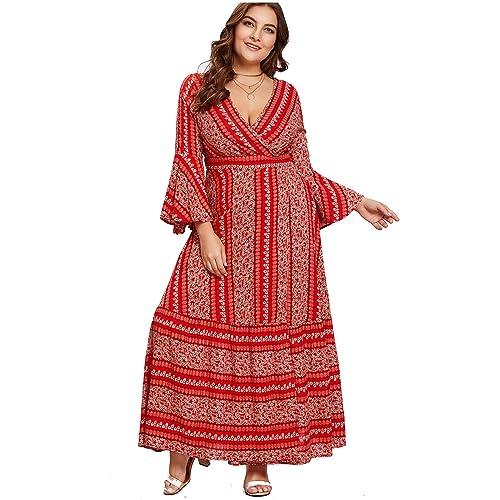 330cd83c00c Milumia Plus Size Party Maxi Dress Empire Waist Tribal Print Wrap V Neck  Flounce Sleeves Dress