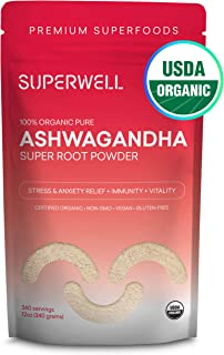SUPERWELL Ashwagandha Super Root Powder (12 Oz / 340 Servings) | 100% USDA Organic | Raw | All Natural | Premium Superfood from India | Improves Mood, Sleep, Energy & Lowers Stress & Anxiety