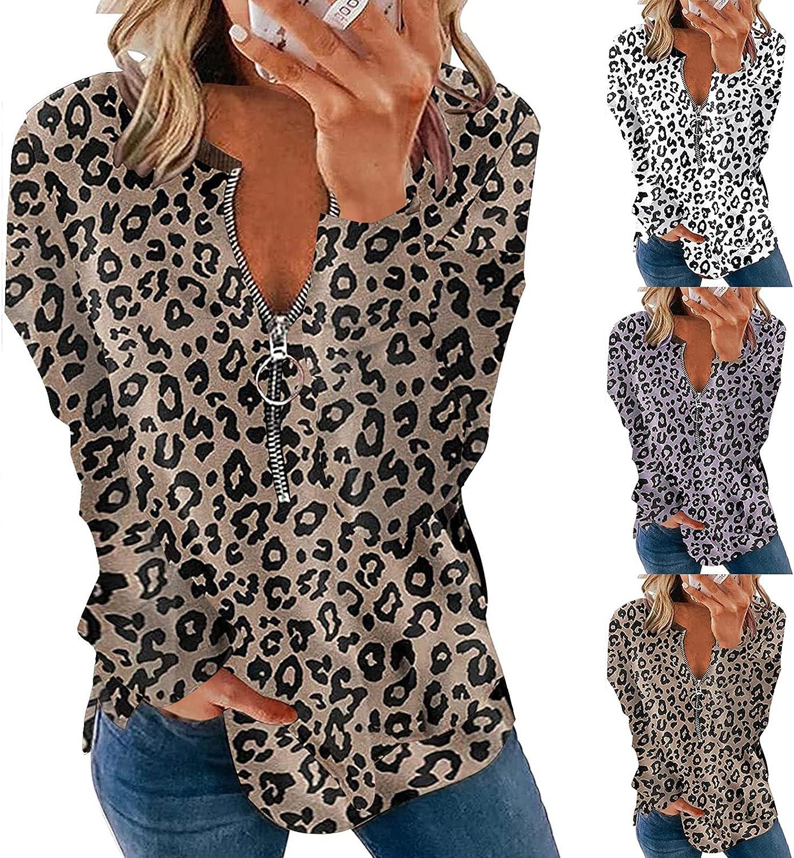 Women's Long Sleeve Top Lapel Half Zipper Pullover Leopard Print Side Split Sweatshirts Casual Loose Fashion Activewear