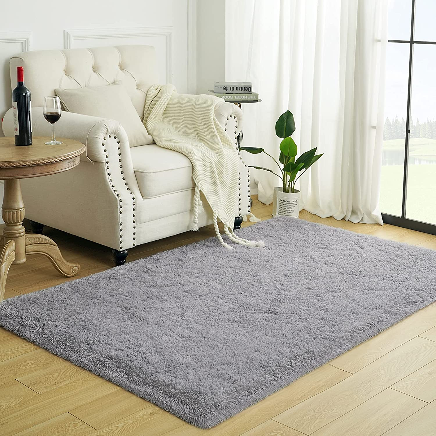 Lascpt Area Rugs for Living Room, Super Fluffy Fuzzy Rug for Bedroom, Grey Furry Shag Rug 4x5.9, Cute Room Decor Carpet for Teen Girls Kids Baby College Dorm Room, Washable Nursery Rug Decorations