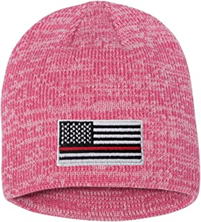 d8ca9846d8cb9a Adult Thin Red Line Flag Embroidered Marled Knit Beanie Cap