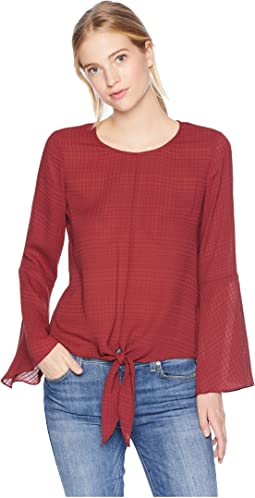 Bell Sleeve Tie Front Gauze Plaid Top