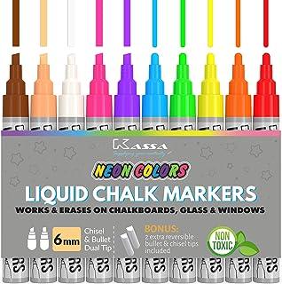 Kassa Liquid Chalk Markers for Blackboards (10 Neon Colors) - Chalkboard Marker Erases on Glass, Window, Black Board, Mirror - Chalk Pens Include Reversible Chisel & Bullet Tip - Non-Toxic Ink