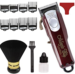 Wahl Professional 5-Star Cord/Cordless Magic Clip #8148 – Great for Barbers and Stylists – Precision Cordless Fade Clipper Loaded with Features – with Bonus Neck Duster (Burgundy)