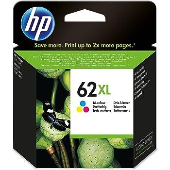 Grande Capacit/é Authentique HP 62XL Cartouche dEncre Trois Couleurs Cartouche Cyan, Magenta, Jaune C2P07AE