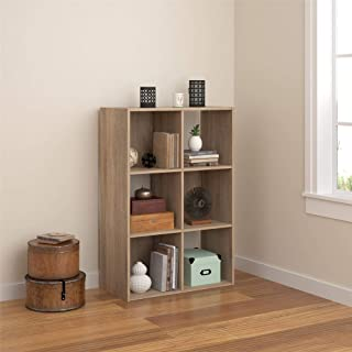 Ameriwood Basics Collection Tally 6 Cube Bookcase in Weathered Oak