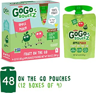 GoGo squeeZ Applesauce on the Go, Apple Peach, 3.2 Ounce (48 Count), Gluten Free, Vegan Friendly, Healthy Snacks, Unsweetened Applesauce, Recloseable, BPA Free Pouches