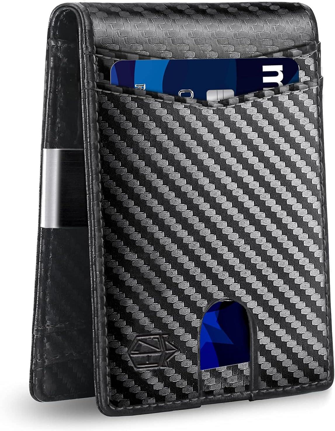 Zitahli Mens Wallet Extra-capacity 12 Slots Money Clip Wallet Slim RFID Blocking Front Pocket Bifold Wallet for Men with ID Window