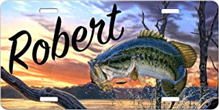 Simply Customized Personalized License Plate Monogram Bass Fishing Sunset Bass Fish License Plate Car Auto Tag Aluminum PLP