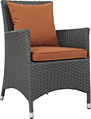 Modway Sojourn Wicker Rattan Outdoor Patio Sunbrella Fabric Dining Chair in Canvas Tuscan